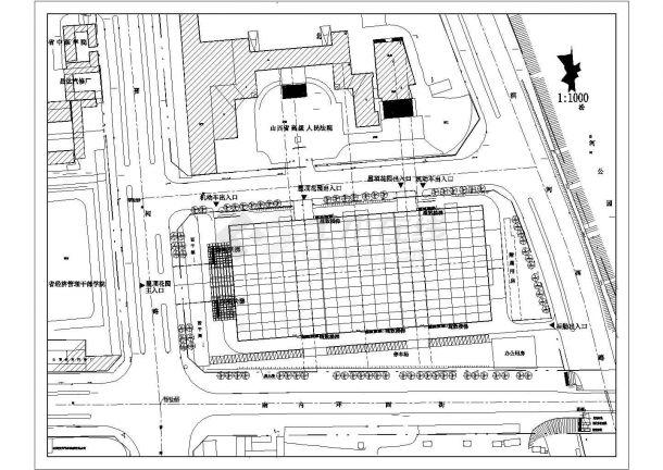某家具广场屋顶花园设计cad施工平面图(含设计说明)-图二