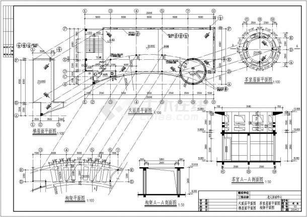 南方某多层框架结构老人活动场所设计cad建筑施工图(带效果图)-图二