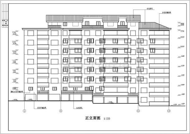 某城市阳光城住宅区多层框架结构住宅楼设计cad建筑方案图-图二