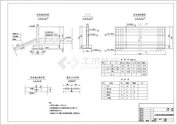 【杭州】某农村新型溢洪道加固工程墙体施工设计cad图(含总平面布置图)-图一