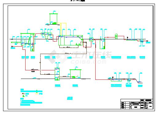 20000m3_d大学城污水处理及回用设计cad施工图纸-图一