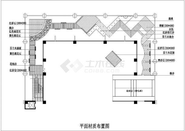 某小型屋顶花园绿化设计cad平面施工图纸-图二