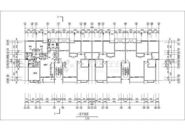 碧海花园小区某多层框架结构住宅楼设计cad建筑方案图-图二