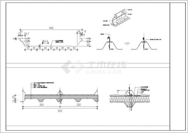 某彩钢板工业厂房设计cad施工大样图-图一