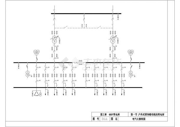 某66kv变电站设计cad标准电气施工图纸-图二