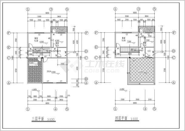 某多层框架结构农村自建房设计cad建筑施工图-图二