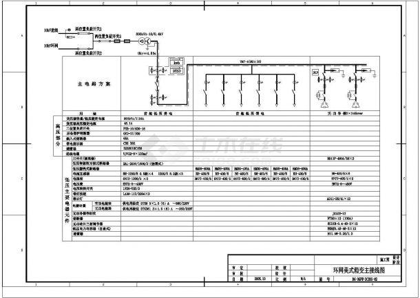 某配电工程800KVA美式箱变设计cad电气施工图-图二