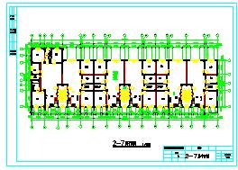 4000平米左右七层框架结构住宅楼设计cad图(全套图纸及计算书)-图二