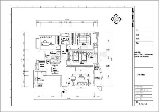 现代风格住宅全套装修施工图(含效果图)-图二
