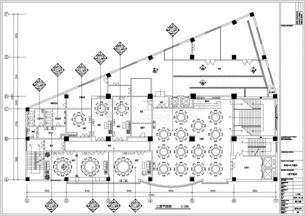 某建筑面积580平米中餐厅室内装修设计cad详细施工图(含效果图)-图一