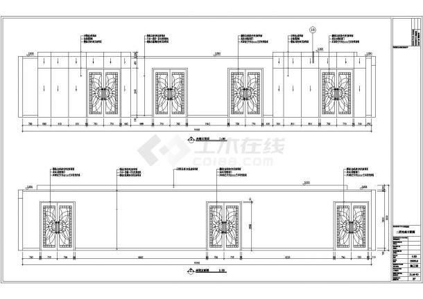 某建筑面积580平米中餐厅室内装修设计cad详细施工图(含效果图)-图二