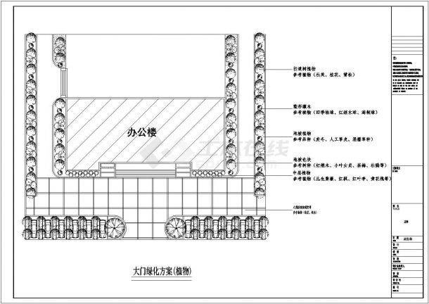 某单位绿化及屋顶花园绿化设计cad施工图-图二