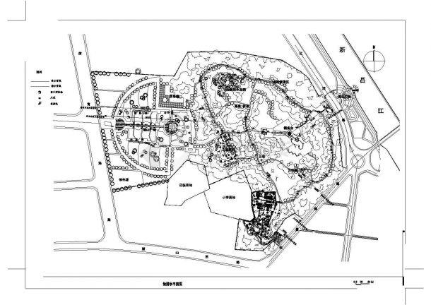 福州某公园景观设计cad总平面方案图-图一