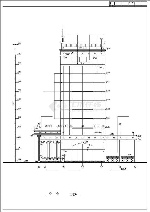北京市某金融公司11层框架结构办公楼全套建筑设计CAD图纸-图二