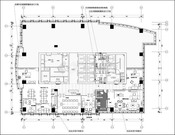 福建恒基集团办公室混搭风格室内装修设计cad全套施工图(含设计说明,含水电设计,含效果图)-图二