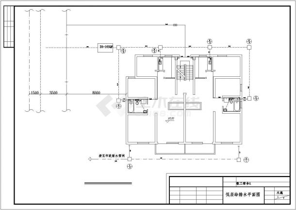 长15.55米 宽11.94米 6层1梯2户工程学院教职工宿舍给排水设计图-课程设计-图二