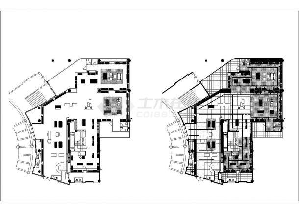某大型服装展厅现代风格室内装修设计CAD施工图(含效果图)-图二