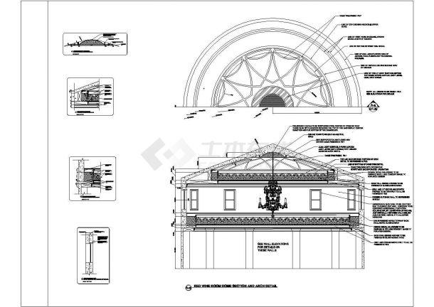 某美式风格会所室内装修设计cad全套施工图-图二