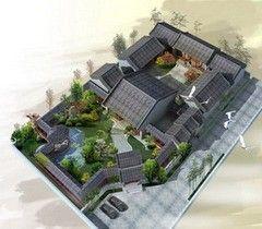 某单层砖混结构中式新古典风格四合院设计cad建筑方案图(含效果图)-图二