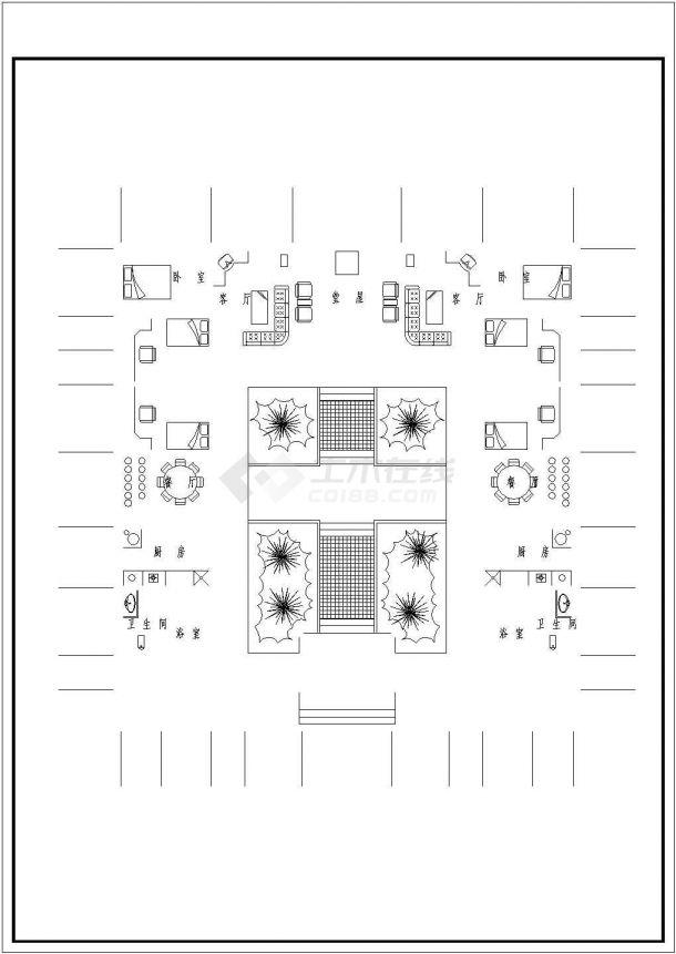 某单层砖混结构北方四合院设计cad建筑方案图-图一