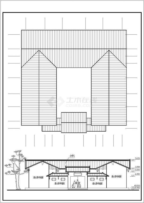 某单层砖混结构北方四合院设计cad建筑方案图-图二