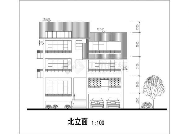 某地多层新潮别墅建筑结构设计图-图二