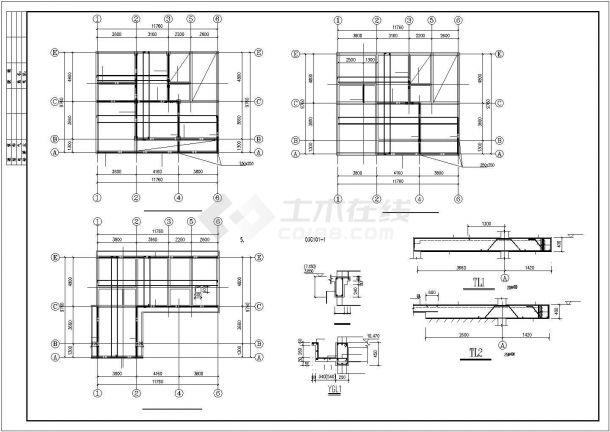 郑州市某村镇某中型3层混合结构独栋别墅建筑结构设计CAD图纸-图一