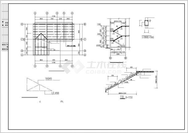 郑州市某村镇某中型3层混合结构独栋别墅建筑结构设计CAD图纸-图二