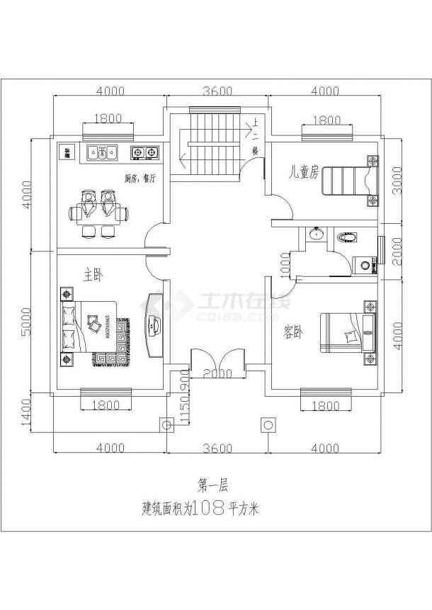 108平米2层砖混结构乡村自建房平立面设计CAD图纸-图二