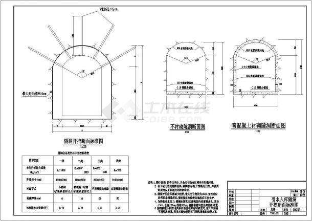 【最新】某引水入库隧洞断面图构造设计CAD图纸-图一