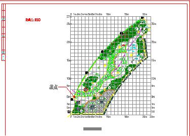 上海某会所屋顶景观绿化平面图(方格网定位图 景观绿化竖向设计图 )-图二