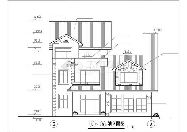 378平米左右3层砖混结构独栋单体别墅建筑设计CAD图纸-图一