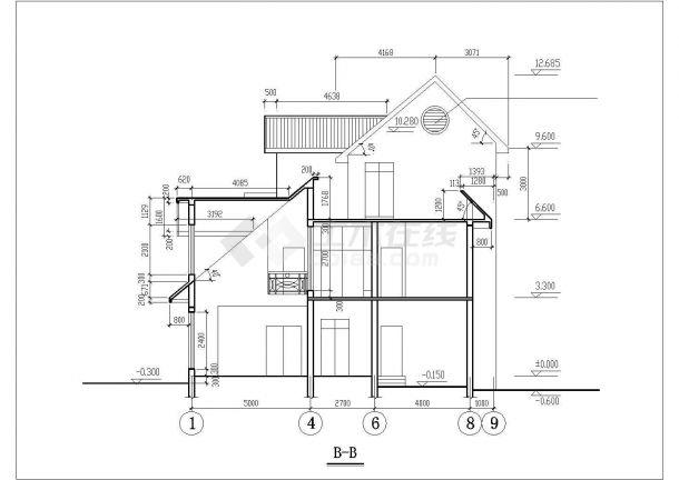 378平米左右3层砖混结构独栋单体别墅建筑设计CAD图纸-图二