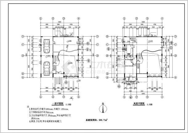 323平米3层框混结构农村自建房平立剖面设计CAD图纸(含夹层)-图一