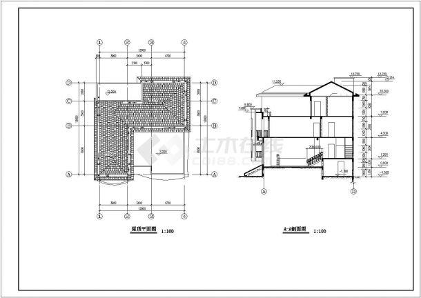 323平米3层框混结构农村自建房平立剖面设计CAD图纸(含夹层)-图二