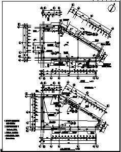 某一层框架结构商业楼建筑结构施工cad图_商业楼施工-图一