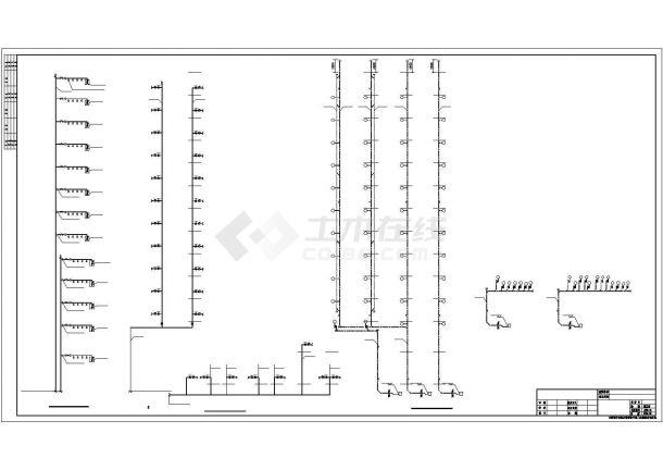 上海某商业街1.4万平米13层框架结构办公楼给排水设计CAD图纸-图二