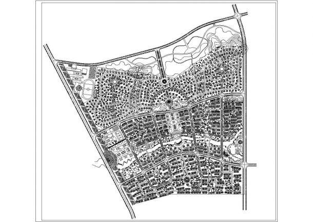 杭州某地花园小区规划及景观绿化cad设计图-图一