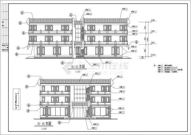 某西安古建营业厅CAD设计构造建筑施工图-图一