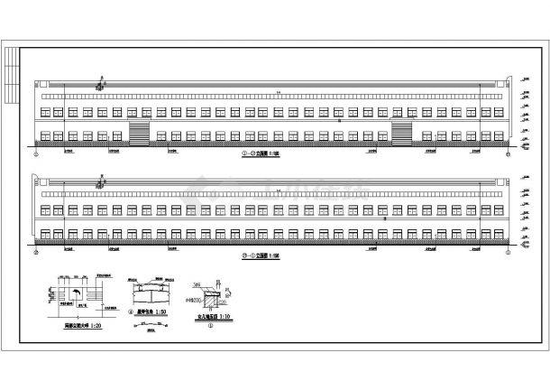 某地大型材料生产厂房建筑施工图纸-图二