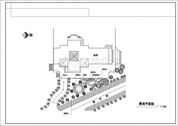 某三角绿地景观CAD构造完整设计详图-图二