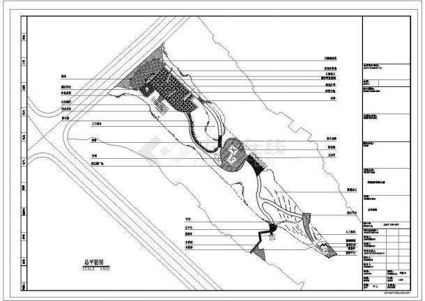 浙江某镇公园CAD园林景观设计完整施工图-图二