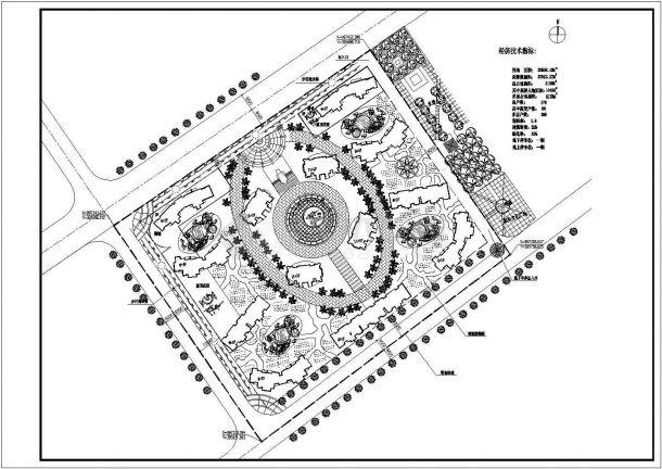 某多层住宅小区景观绿化规划设计cad总平面方案图(含经济技术指标)-图一