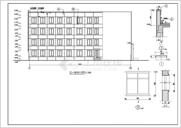 江苏省无锡市某监狱综合办公楼框架结构建筑施工CAD图纸-图一