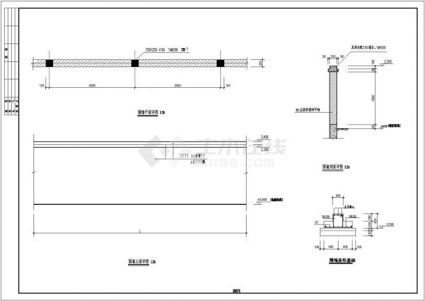 江西省南昌市某农村自建别墅围墙建筑施工设计CAD图纸-图一