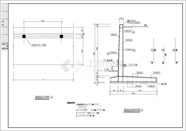 江西省南昌市某农村自建别墅围墙建筑施工设计CAD图纸-图二