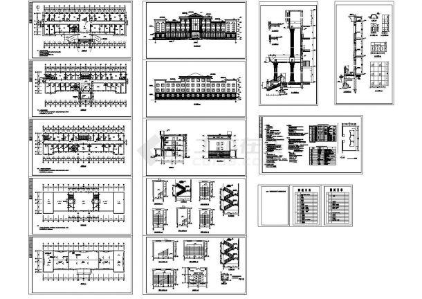 办公楼设计_某四层砖混结构办公楼设计cad全套建筑施工图(含设计说明)-图二
