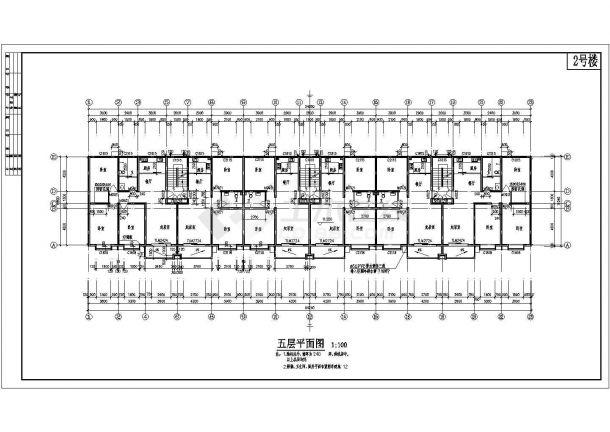 某六层砖混结构住宅楼全套图纸,共两张-图一