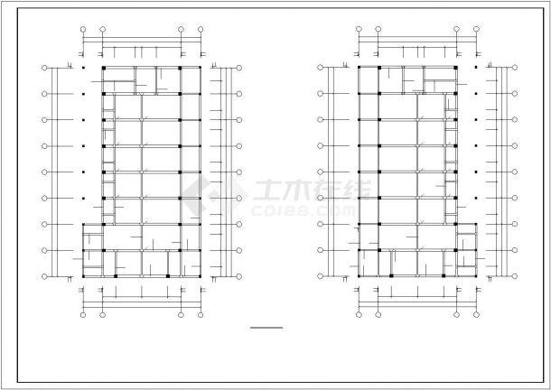 旅顺市某市政单位3层框架结构办公楼全套结构设计CAD图纸-图二