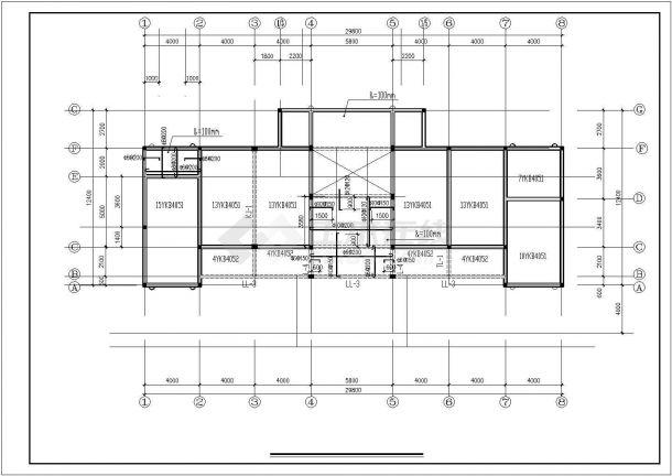 武汉市汉阳区某大型水库单层砖混结构管理房全套结构设计CAD图纸-图一